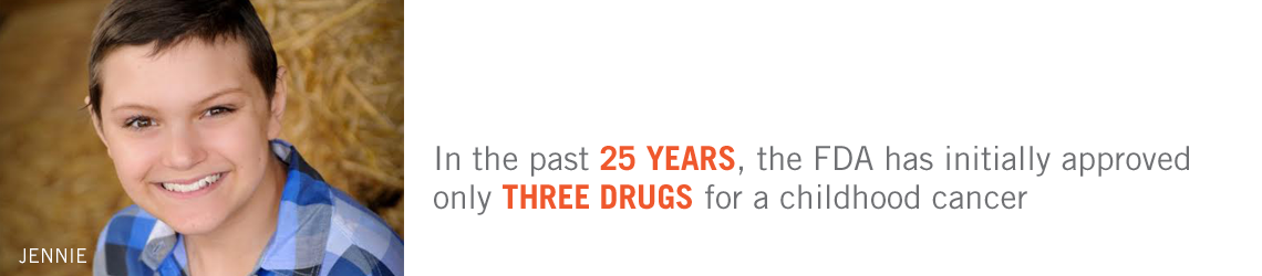 In the past 25 years, the FDA has initially approved ONLY THREE DRUGS for a childhood cancer